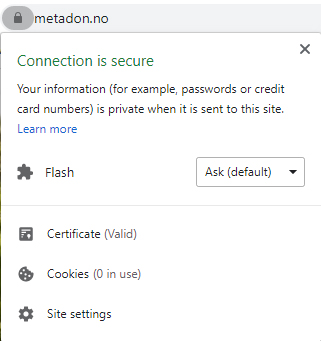 SSL/https sertifikat for metadon.no